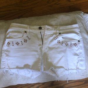 Loft white jean shorts